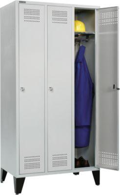 Locker, met poten, 3 vakken B 300 mm, cilinderslot, lichtgrijst/lichtgrijs