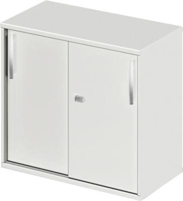 LOGIN aanbouw-/opzetkast met schuifdeuren, b 800 x d 420 x h 726 mm, lichtgrijs/lichtgrijs