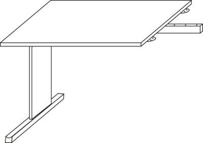 LOGIN aanbouwtafel, C-onderstel, b 1000 x d 600 x h 740 mm, lichtgrijs