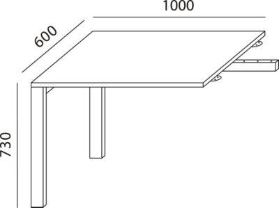 LOGIN aanbouwtafel met 4 poten, 1000 x 600 x 740 mm, lichtgrijs