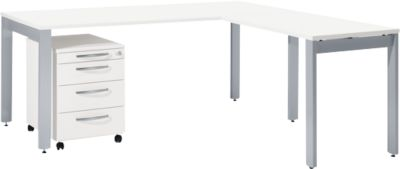 LOGIN bureau met vier poten 1800 mm + aanbouwtafel met 4 poten + ladeblok op wielen set, wit