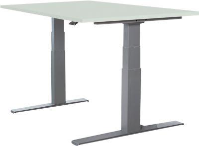 LOGIN bureautafel met T-onderstel, in hoogte verstelbaar, b 1200 x d 800 h 645 - 1290 mm, lichtgrijs