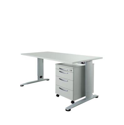LOGIN C-Fuß Schreibtisch, B 1600 mm + Rollcontainer SET, lichtgrau