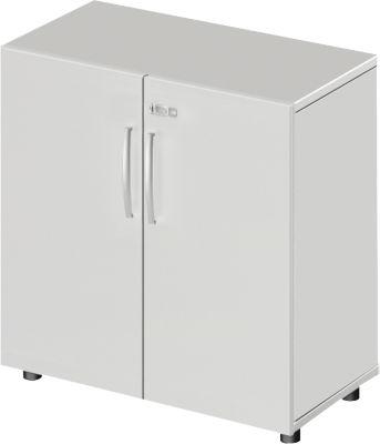 LOGIN kast, 2 OH, b 800 x d 420 x h 744 mm, lichtgrijs/lichtgrijs