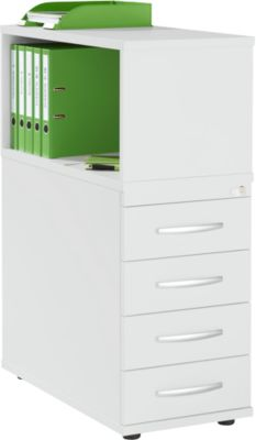 LOGIN opbergbak, met bovenblad, 4 laden, B 409 x D 800 x H 1120 mm, hout, afsluitbaar, lichtgrijs/lichtgrijs