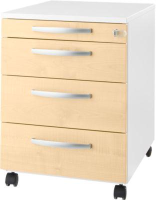 LOGIN verrijdbare ladeblok, 3 laden, 1 materiaallade, centrale vergrendeling, b 432 x d 580 x h 595 mm, wit/ahorndecor