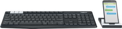 Logitech Bluetooth Tastatur K375s Multi Device, für bis zu 3 Geräte, kabellos, Universalhalterung