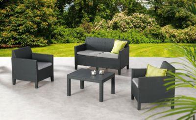 Lounge-Gruppe Amalfi klein, 4-teilig, mit Zweisitzer, inkl. Sitzkissen