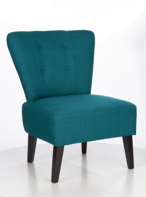 Lounge Sessel BRIGHTON, Stoffbezug, Vintage-Look, Massivholzbeine, blau