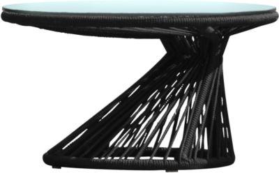 Lounge tafel Ray met glazen blad, zwart