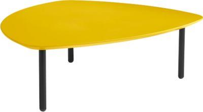 Lounge-Tisch, Stahlrundrohrfüße, Tischplatte MDF, Breite 910 mm, gelb