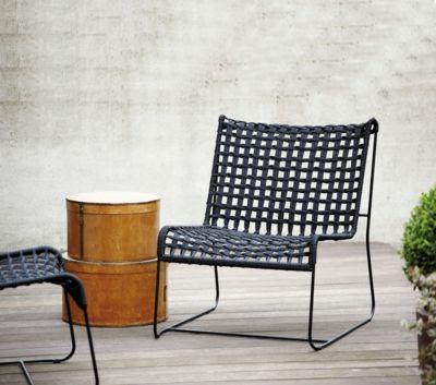 Loungesessel Jan Kurtz In/Out, Stahl/Polyester, Geflecht-Sitzfläche, B 700 x T 800 x H 850 mm, weiß/beige