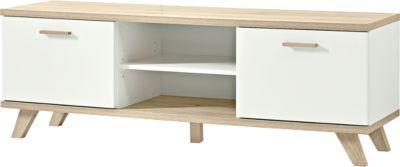 Lowboard OSLO, B 1440 x T 400 x H 500 mm, 2 Türen, 2 offene Fächer, weiß/Sanremo-Eiche-Nb.