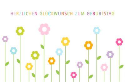 LUMA Doppelkarte Geburtstag, Motiv Blumen grafisch, Innenseite geraut, mit Umschlag