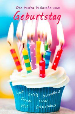 LUMA Doppelkarte Geburtstag, Motiv Muffin m. Kerzen, Innenseite geraut, mit Umschlag