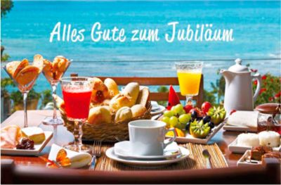 LUMA Doppelkarte Jubiläum, Motiv Frühstückstisch, Innenseite geraut, mit Umschlag