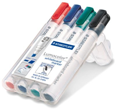 Lumocolor whiteboard marker 351, 2-5 mm, 4-dlg. set