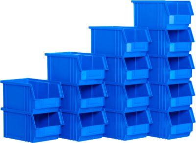 Magazijnbak met zichtopening TF 14/7-3Z, kunststof, 14 stuks, blauw, 7,2 l