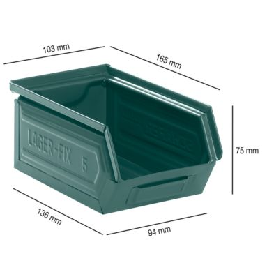 Magazijnbakken 14/7-5, staal, 0,86 liter, gelakt
