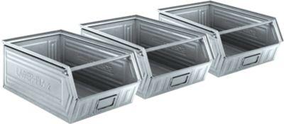 Magazijnbakken serie LF 14/7-2, staal, inhoud 26 l, 3 stuks