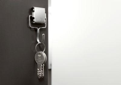 magnetoplan® Hakenmagnet, silber, beweglicher Haken, Haftkraft 1,5 kg, H 65 mm