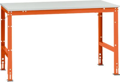 Manuflex Arbeitstisch UNIVERSAL Standard, 1500 x 1000 mm, Melamin lichtgrau, rotorange