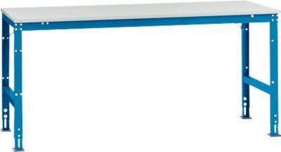 Manuflex Arbeitstisch UNIVERSAL Standard, 2000 x 1000 mm, Kunststoff lichtgrau, lichtblau