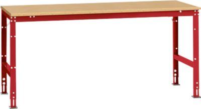 Manuflex Arbeitstisch UNIVERSAL Standard, 2000 x 1000 mm, Multiplex natur, rubinrot