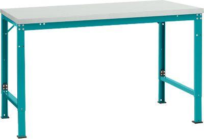 Manuflex basistafel UNIVERSAL Special, 1500 x 1000 mm, lichtgrijs melamine, waterblauw