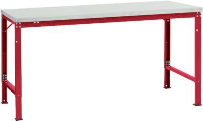 Manuflex basistafel UNIVERSAL Special, 1750 x 1000 mm, lichtgrijs kunststof, robijnrood