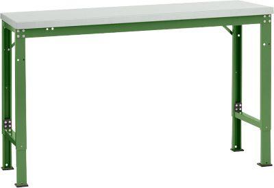 Manuflex Grundtisch UNIVERSAL Spezial, 1500 x 800 mm, Melamin lichtgrau, resedagrün