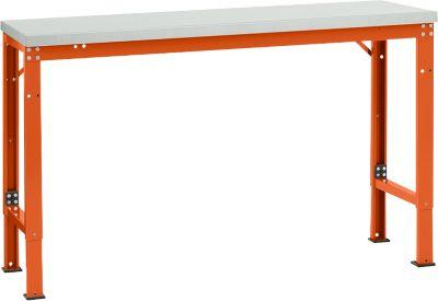 Manuflex Grundtisch UNIVERSAL Spezial, 1500 x 800 mm, Melamin lichtgrau, rotorange