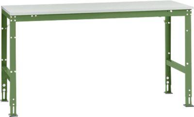 Manuflex Grundtisch UNIVERSAL Standard, Tischplatte Kunststoff, 1750x800, resedagrün