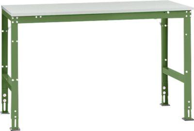 Manuflex Grundtisch UNIVERSAL Standard, Tischplatte Melamin, 1500x800, resedagrün