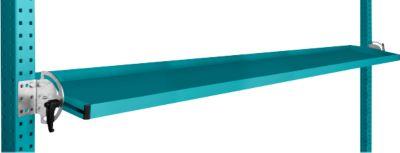 Manuflex Neigbare Ablagekonsole, für Reihe Universal oder Profi, Nutztiefe 195 mm, für Tischbreite 2000 mm, wasserblau