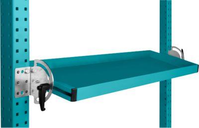 Manuflex Neigbare Ablagekonsole, für Reihe Universal oder Profi, Nutztiefe 195 mm, für Tischbreite 2500 mm, wasserblau