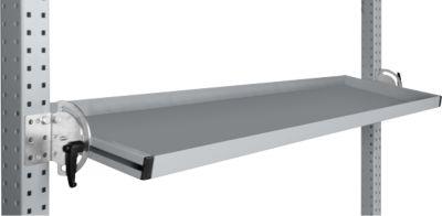 Manuflex Neigbare Ablagekonsole, für Reihe Universal oder Profi, Nutztiefe 345 mm, für Tischbreite 1500 mm, alusilber
