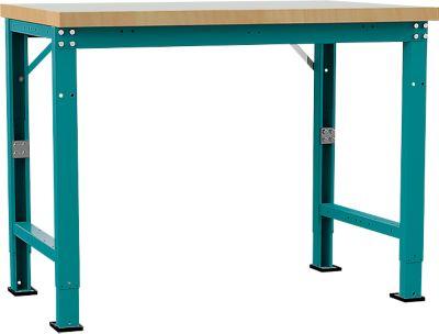 Manuflex Werkbank Profi Spezial, Tischplatte Kunststoff, 1250 x 700 mm, wasserblau
