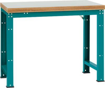 Manuflex Werkbank Profi Standard, Tischplatte Kunststoff B 1250 x T 700, wasserblau