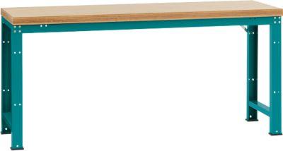 Manuflex Werkbank Profi Standard, Tischplatte Multiplex B 2000 x T 700, wasserblau