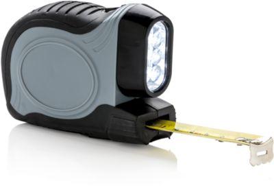 """Maßband """"2 in 1"""", 5 m langes Stahlband, 3 integrierte LED-Leuchten, mit Gürtelclip, grau, Werbedruck 40 x 25 mm"""