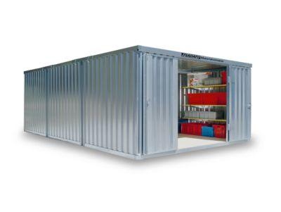 Materiaalcontainer Mod. 1460, verzinkt, ongem., met houten vloer