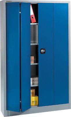Materiaalkast MS 2408, b 1200 x d 400 x h 1935 mm, aluzilver/gentiaanblauw