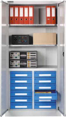 Materiaalkast MSI 2509/12, lichtgrijs RAL 7035, 12 laden