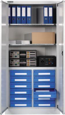 Materiaalkast MSI 2509/12, wit aluminium RAL 9006, 12 laden