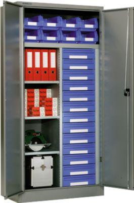 Materiaalkast MSI 2509/13, wit aluminium RAL 9006, 13 laden