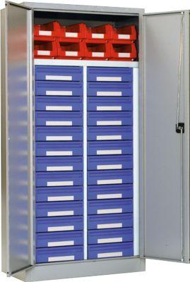 Materiaalkast MSI 2509/26, wit aluminium RAL 9006, 26 laden
