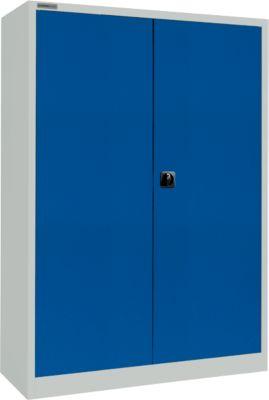 Materialschrank MS 2512, mit Schubladen/Tresorfach, H 1935 mm, lichtgrau/enzianblau