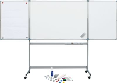 MAUL Klapptafel-Whiteboard mobil 1000/1500, 2 Flügel, inklusive Starterkit