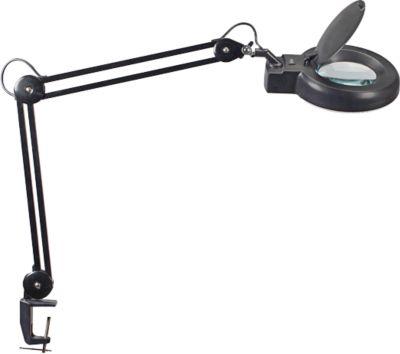 MAUL Viso energiezuinige loep-bureaulamp, met klemvoet, zwart